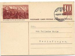 "28 - 44 - Entier Postal Avec Illustration ""Schynige Platte"" Cachet Chemins De Fer ""Ambulant 1941"" - Postwaardestukken"