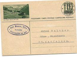 """28 - 89 - Entier Postal Avec Illustration """"Les Alpes Depuis St-Luc"""" Superbe Cachet à Date Olten 1951 - Postwaardestukken"""