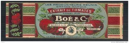 étiquette  De Tomates BOE  - Chromo Litho  XIX/débutXXeime 6,5x18,5  Micro Déchirure- Dorure - Frutta E Verdura