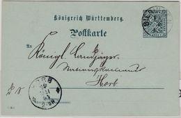 Württemberg - 2 Pfg. Dienst-GA-Karte/Oberamtsverkehr Bieringen - Horb 1904 - Wuerttemberg