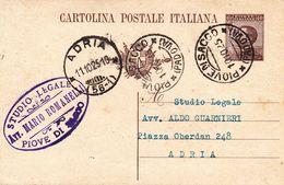 PIOVE DI SACCO - PADOVA - CARTOLINA POSTALE CON TIMBRO COMMERCIALE STUDIO LEGALE AVV. MARIO ROMANELLI - 1925 - Padova (Padua)