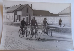D172115   Old  Photo   -Hungary Bike Biker Velo - Wall Graffiti - Propaganda - Nov 1956 - Cyclisme