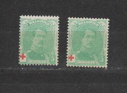 COB 129 + 129a ** Neuf Sans Charnière Cote 38€ - 1914-1915 Red Cross