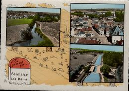 51-EN PASSANT PAR..SERMAIZE LES BAINS...3 VUES...CPSM GRAND FORMAT - Sermaize-les-Bains