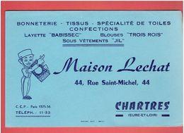 BUVARD MAISON LECHAT 44 RUE SAINT MICHEL A CHARTRES BONNETERIE TISSUS TOILE LAYETTE BLOUSE SOUS VETEMENT - Vestiario & Tessile