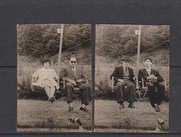 PHOTO-ORIGINAL-SNAP-SHOT-SKI-LIFT-TELESIEGE+-1969-?-2 PHOTOS+-7-10 CM-2 PERSONNES-VACHE-TRES BONNE ETAT - Sports
