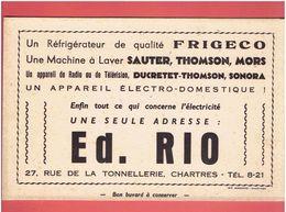 BUVARD ED. RIO 27 RUE DE LA TONNELLERIE A CHARTRES REFRIGERATEUR MACHINE A LAVER RADIO TELEVISION - Electricité & Gaz