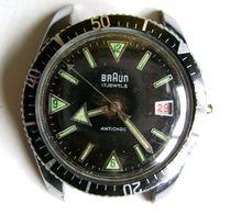Belle Montre Plongée Braun Date 17 Rubis Mouvement Continental Time .Co 36 M/m - Montres Anciennes