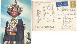 / Alitalia Airlines ADV Promo PPC Nairoby Salisbury Johannesburg Line AirmailPPC Kenya Woman 22feb1963 C65 Solo - Reclame