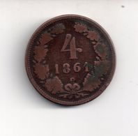 REF MON4  : Monnaie Old Coin Austria Autriche 4 Kreuzer 1861 - Oesterreich