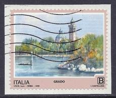 Italia / Italy - 2018 Tourism, Touristic Series, Grado, Views, Church, Landscapes - Self-adhesive Used On Paper - 2011-...: Usados