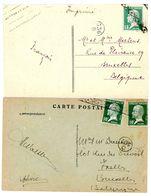 15C PASTEUR ET 10C PASTEUR X 2 OBLITERE ROULETTE DE BRUXELLES EN ARRIVEE NON OBLITERE AU DEPART - 1922-26 Pasteur