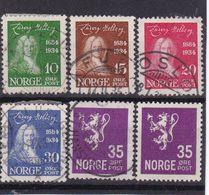 #12189 Norway, Norge 1934 Full Set  Used, MNH, Michel 168-171 + 167: 250th Born Baron Ludvig Halberg Writer, Defin. Lion - Norwegen