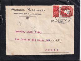 PORTUGAL 1935 LETTRE DE MACEDO DE CAVALEIROS AVEC CACHET AMBULANT - Lettres & Documents