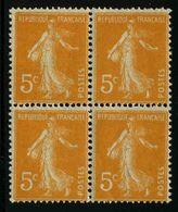 FRANCE - YT 158 ** X4 - SEMEUSE - 1 BLOC DE 4 TIMBRES NEUFS ** - 1906-38 Semeuse Con Cameo