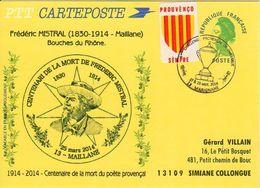 Frédéric Mistral Repiqué Sur Entier Carte Postal Type Liberté - Cartes Postales Repiquages (avant 1995)