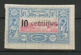 COLONIES COTE DES SOMALIS N°29 10c Sur 50c Bleu DOUBLE SURCHARGE RR Signé N1884 - Côte Française Des Somalis (1894-1967)