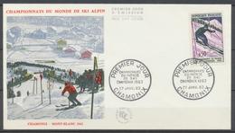1962 1er Jour 50c. Championnats De Ski CAD Premier Jour Chamonix COTE 17€ D2630 - FDC