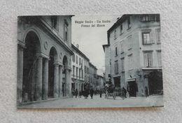 Cartolina Illustrata Reggio Emilia - Via Emilia E Piazza Del Monte, Per Modena 1918 - Reggio Nell'Emilia