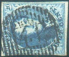 N°7 - Médaillon 20 Centimes Bleu, TB Margé Etoblitération Idéalement ApposéeD 41 - Ghistelles. Très Frais. -TB - 157 - 1851-1857 Médaillons (6/8)