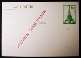 France RARE FICTIF ENTIER POSTAL 1,60 Fr VERT SUR CARTE POSTALE. PEU COMMUN !! - Fictifs