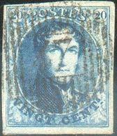 N°7 - Médaillon 20 Centimes Bleu, Marges Maxima Etoblitération Idéalement ApposéeD 47 - Rance. Effigie Totalement Déga - 1851-1857 Médaillons (6/8)