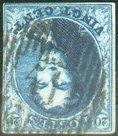 N°7 Médaillon 20 Centimes Bleu, TB Margé EtPl.III - Pos.155.D 51 - Chièvre-Attre, Frappe Centrale Et Nette. COB - 1851-1857 Médaillons (6/8)
