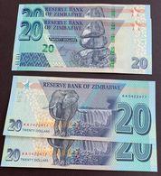 2 X ZIMBABWE 2020 20 Dollars BANKNOTES AA PREFIX UNC - GREAT PRICE - Zimbabwe