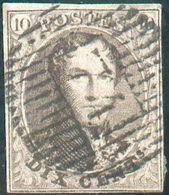 N°10A Médaillon 10 Centimes Brun, Belles Marges, Obl.D 74 - Grez-Doiceau, TB Frappe. COBA 25€ -Superbe- 15755 - 1858-1862 Médaillons (9/12)