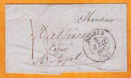 1837 Lettre Pliée Avec Correspondance De Nimes, Gard, Grand Cachet Vers Apt, Vaucluse - Gd Cachet Fleurons - 1801-1848: Voorlopers XIX