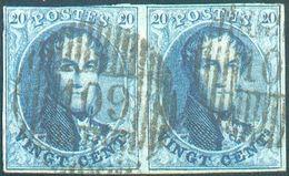 N°11(2) Médaillon 20 Centimes Bleu, Paire Dt 1 Superbe Etsplendide FrappeD 109 - Meulebeke, . COBA 40€ -B/TB- - 1858-1862 Médaillons (9/12)