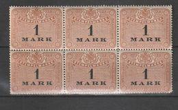 Deutschland / Stempelmarke 1 Mark, 6er-Block ** (BU02) - Otros