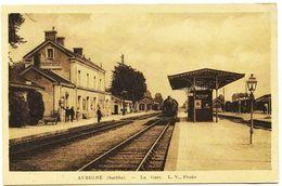 1816 - Sarthe - AUBIGNE  -  LA GARE  ,  ARRIVEE DU TRAIN - Frankreich