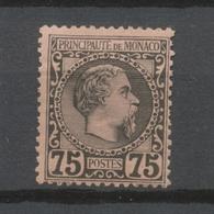 MONACO N°8 75c Noir S.rose N* Signé CALVES Cote 415€ P1974 - Monaco