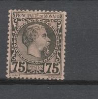 MONACO N°8 75c Noir S.rose Neuf * Signé CALVES Cote 415€ P1975 - Monaco