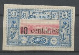 COTE DES SOMALIS N°29 10 Centimes S.50c Surch. Double N* Signé P2066 - Côte Française Des Somalis (1894-1967)