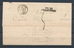 1853 Lettre Obl SCHIRMECK CAD T15 + BR H Identifiée ROTHAU VOSGES(82) P2662 - 1801-1848: Precursores XIX