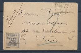1871 Alsace Lorraine 20c Obl FELDPOST RELAIS N°87 LA FERE Pr PARIS RRR. P2953 - Marcofilia (sobres)