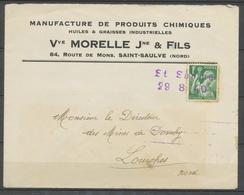 1940 Lettre Avec Cachet De Fortune St Saulve 29 8 40 Pour Lourches P2988 - 1877-1920: Periodo Semi Moderno