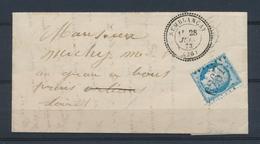 1873 Lettre N°60 Obl GC6267 SEMBLANCAY CAD T24 Perlé INDRE ET LOIRE (36) P4047 - 1801-1848: Precursors XIX