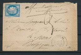 1875 Enveloppe N°60 Pr La Belgique Taxe 3d Au Tampon. TB P4476 - Postage Due Covers