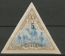 Colonie Cote Des Somalis N°36 5c Sur 25f Brun Et Bleu Neuf * Sup. P4670 - Côte Française Des Somalis (1894-1967)