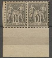 France Classique SAGE PAIRE N°89 10c Noir S.lilas Type II N/U Neuf * BDF. P5012 - 1876-1878 Sage (Type I)