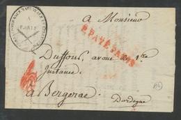 1807 Lettre Griffe P.PAYE PARIS , Vérif. Du Port + Cachet Ovale Corr. RR P508 - Postmark Collection (Covers)