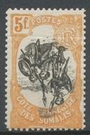 Colonies Cote Des Somalis N°66 C 5f Orange Et Noir Centre Renversé. Neuf * P5152 - Côte Française Des Somalis (1894-1967)