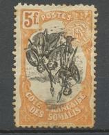 Colonies Cote Des Somalis N°66 C 5f Orange Et Noir Centre Renversé. Neuf * P5151 - Côte Française Des Somalis (1894-1967)