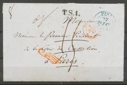 1844 Lettre De Pise Italie Taxée Puis Franchise à Détaxer, + Griffe Rge P5184 - Postmark Collection (Covers)