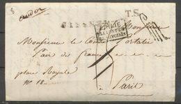 """1821 Lettre En Franchise De Florence Italie Taxée Puis  """"à Détaxer"""" P5186 - Postmark Collection (Covers)"""