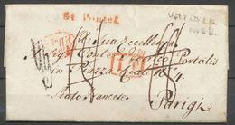 1829 Lettre Taxée 18d Pontet + IT Rge Puis à Détaxer + Marque De Vérif. P5190 - Postmark Collection (Covers)