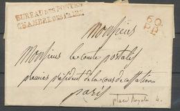 1834 Lettre Marque Rouge 60 P.P. + BUREAU DES POSTES CHAMBRE DES PAIRS P5191 - Postmark Collection (Covers)